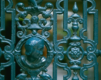 Paris Photography - Parisian Teal - Architectural Artifact - French photo - wrought iron art, Door Art - Fine art photography - blue green