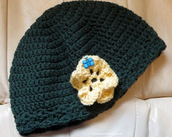 "Cloche Hat - Chemo Cap - 22-24"" Medium to Large Adult - Dark Green with Yellow Flower - Reading Thinking Sleeping - Hand Made USA Item CC407"