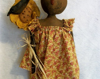 PATTERN, primitive doll, pumpkin and sunflower with crow, fall home display, by Dumplinragamuffin, #211