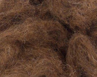 Corriedale Bulky Wool Roving - Deer - 4 ounces