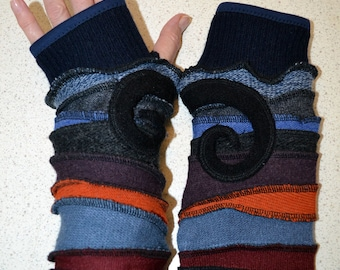 Katwise style Lined Armwarmers / wristwarmers / fingerless gloves in blue and orange