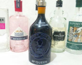 McQueens gin soap dispenser, 70cl gin gift with stainless soap dispenser.