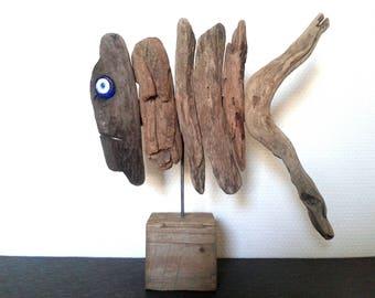 Fish, fish Driftwood decorative object