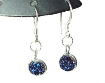 Drusy quartz french hook dangle earrings SALE