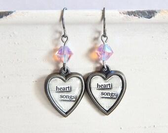 Valentine's Day heart earrings - heart songs - crystal heart earrings - pink crystal