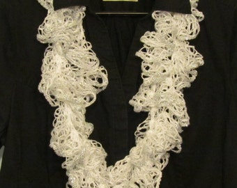 White Crochet Ruffle Scarf