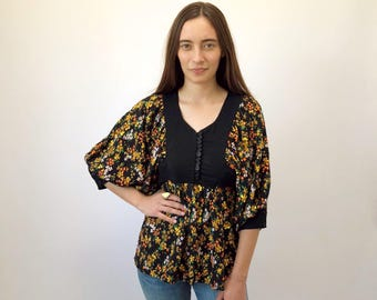 Liverpool Tunic // vintage 70s dress top corset poet sleeves sleeve boho hippie black mod 1960s blouse 1960s floral 1970s 60s  // S Small