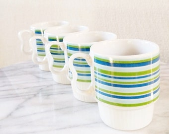 Vintage Blue and Green Stiped Stackable Mugs. Set of 4