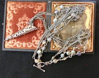 November Rain, vintage assemblage necklace, altered, Labradorite, flower holder, filigree