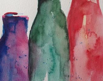 Original watercolor painting image art bottles still Life Watercolor