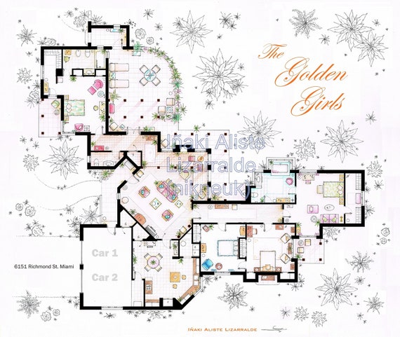 floorplan of the house from the golden girls