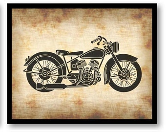 Vintage Motorcycle Print Art Print Parchment Paper Old Style Antique  Printable INSTANT DOWNLOAD Vehicle Transportation Wall Decor