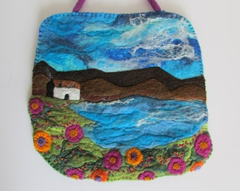 CLEARANCE Original- Wet Felted Painting Cottage by the Water