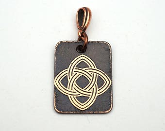 Copper Celtic pendant, small rectangular Celt knotwork jewelry, etched metal, 25mm
