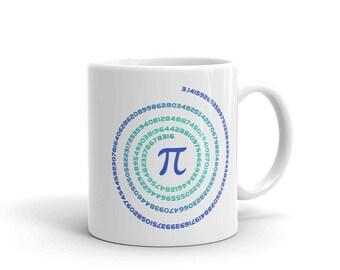 Pi Day Coffee Cup. Cool White Ceramic Math Nerd Tea Cup.