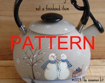 Tole painting epattern, The snowman kit, snowman painting pattern, tea pot pattern, painting patterns, christmas pattern,  prim pattern,
