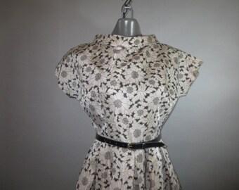 SALE***1950s Vintage Dress // Mode O Day / Loose Box Pleat Skirt // Satin //  Short Raglan Sleeves