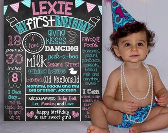 First Birthday Chalkboard Poster Sign First Birthday Poster Girl or Boy You Pick Colors