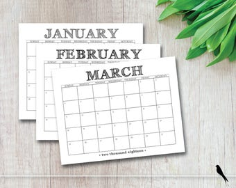 2018 Printable Wall Calendar - Fun Casual Rustic Black Monthly Wall Calendar - Business, Family, Home Calendar Planner - Instant Download