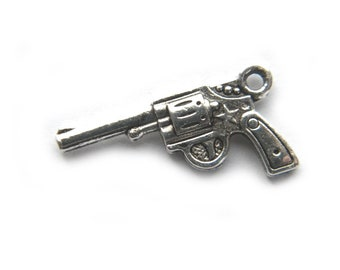6 Silver Gun Charms Pistol Revolver