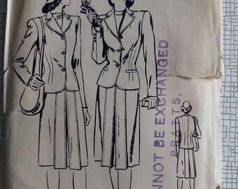 "1940s Suit - 34"" Bust - Vogue 5035 - Vintage Sewing Pattern"