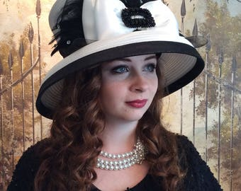 Black and White Feather Spectator Hat