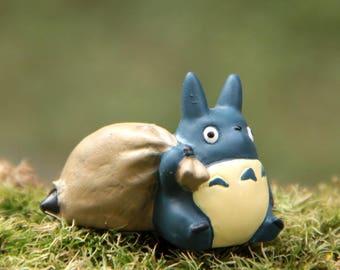 My Neighbor Blue Totoro Studio Ghibli Mini Miniature Vinyl Figurine for Miniature Terrarium, DIY craft supply