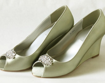 ALICIA Collection - WeDDING WEDGES - Moss Green with Rhinestone Crystals Embellishments