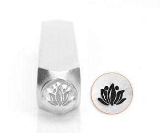 LOTUS Metal Stamp, ImpressArt, Design Stamp, 6 mm Flower Stamp, Yoga Meditation Stamp, Jewelry Making Tool for Stamping Metal, Clay Crafts