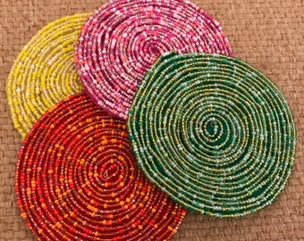 New Glass Beaded Coasters - Set of 4
