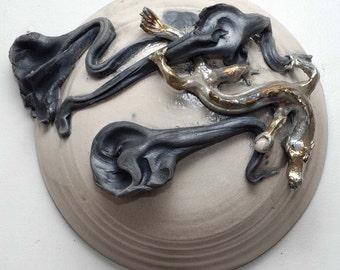 Ceramic Raku Sculpture Golden Dragon With Moon and Clouds Raku Wall Hanging