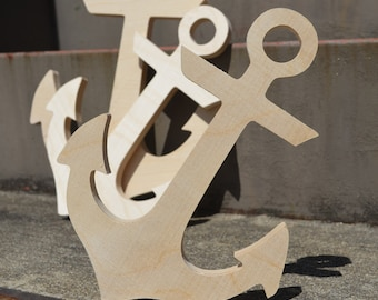 Wooden ANCHOR Unfinished Children's Room, Wall Art, Decoration, Wreathes, Wooden Letters, Wood Letters, Wood Anchor