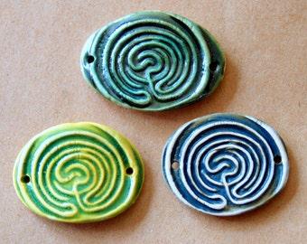 3 Handmade Ceramic Beads - Large Labyrinth Cuff Beads