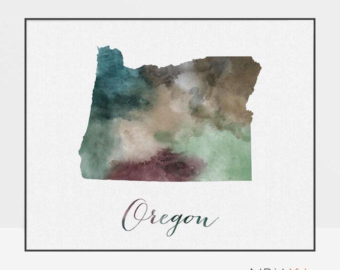 Oregon state map print, Watercolor map, Wall art painting, Oregon map poster, Oregon state watercolor print fine art print ArtPrintsVicky