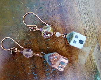 Copper and White Clay Townhouse Earrings