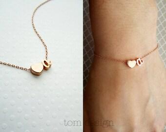 Cursive Initial Bracelet - Tiny Two Charm Letter Bracelet, Personalized Bridesmaid Gift Initials Bracelet Personalized Initials Gift for Her