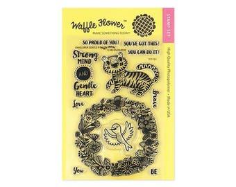 Waffle Flower ENVELOPER GENTLE by Helen Dardik 4x6 - Set of 11 CLEAR Photopolymer stamps Tiger Bird Wreath #271151