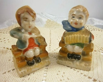 Vintage Porcelain Figurines Boy and Girl with Musical Instruments Marked Occupied Japan
