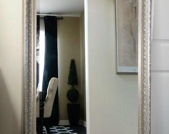 "Elegance Ornate Embossed Wood Framed Floor Mirror Champagne Silver 31"" x 67"""