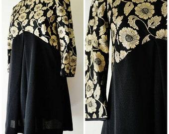 60s vintage black and gold floral baby doll dress M L