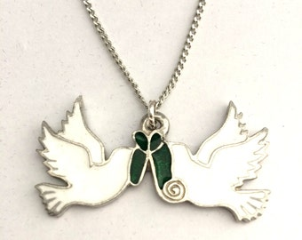 dove heart engraved pin necklace beautiful turtle
