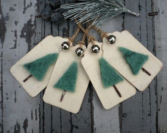 Needle felted tags, gift tags for christmas, hand made labels, gift wrap, scandi christmas, holiday tags, christmas tree tags, rustic tags