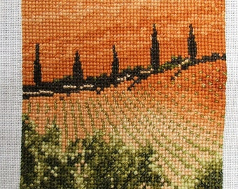 Completed Vintage Cross Stitch. Tuscan landscape