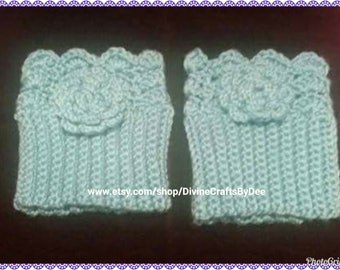 Crochet Boot Cuffs or Toppers with Flower Appliques - Adult