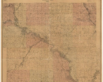 Black Hawk County Iowa  1887 -  Old Wall Map Reprint with Landowner Names Farm Lines  Genealogy
