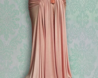 Siren Vintage Style Grecian Fishtail Skirt with Sweetheart Ruching and Tassel Detail