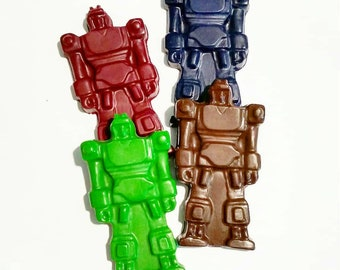 Robot Crayons, Transforming Robot, Jumbo Crayons, Recycled Crayons, Robot Party, Party Favors, Boys Gift, Chunky Crayons, Set Of 4, Birthday