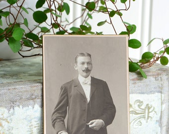 Professional cabinet card, antique Swedish old photo 1905 , Uppsala Sweden, mustache man