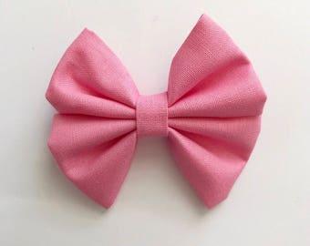 Baby Pink Flutter - Baby/toddler bow headband or clip - bow tie - nylon headband