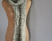 Bulky, Wrapping, Scarf, Handspun Yarn, Handknit Knit Scarf, Wool, Soft, Light Green, Yospun